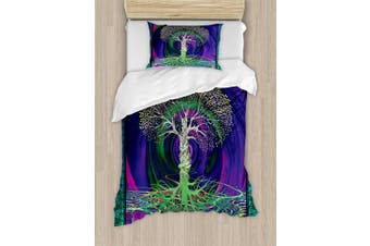 (TWIN / TWIN XL, Multi 1) - Nature Duvet Cover Set by Ambesonne, Digital Psychedelic Tree of Life with Turning Gothic Background Mystery Display, 2 Piece Bedding Set with Pillow Sham, Twin / Twin XL, Purple Fuchsia