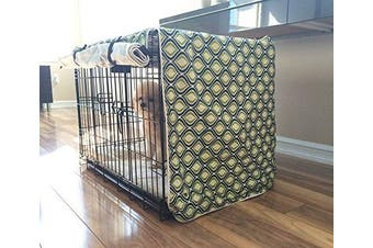 (LARGE 36x24x27) - Green Blue Swivel Dog Pet Wire Kennel Crate Cage House Cover (Small, Medium, Large, XL, XXL) Holiday Xmas