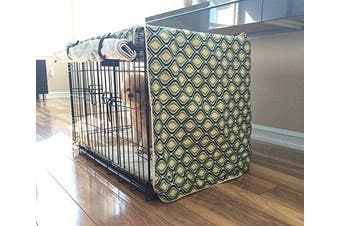 (SMALL 24x18x21) - Green Blue Swivel Dog Pet Wire Kennel Crate Cage House Cover (Small, Medium, Large, XL, XXL) Holiday Xmas
