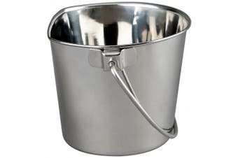 (1.9l) - Advance Pet Products Heavy Stainless Steel Flat Side Bucket