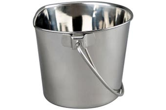 (0.9l) - Advance Pet Products Heavy Stainless Steel Flat Side Bucket