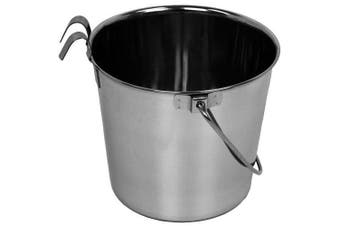 (0.9l) - Advance Pet Products Heavy Stainless Steel Flat Side Bucket with Hook