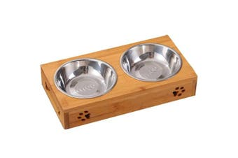 (2 Bowls, Stainless Steel) - Creation Core Solid Bamboo Elevated Pet Dinner Feeder for Small Dogs and Cats Raised Stand with Two Ceramic Bowls