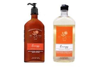 Bath & Body Works Aromatherapy Body Wash & Lotion Set - Energy Orange + Ginger