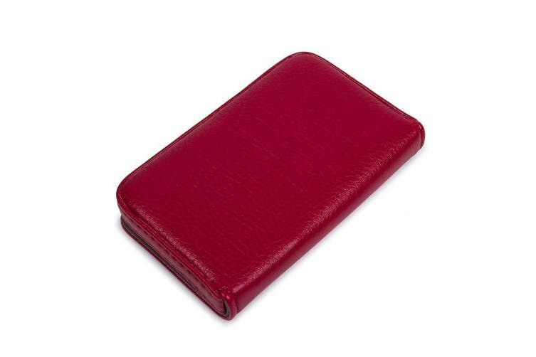 (Red) - Leather Business Name Card Holder Case Wallet Credit Card Book with Magnetic Shut (Red)