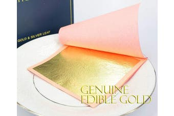 (Large Leaf - 7.9cm  (Loose) 25 Sheets) - Genuine Edible Gold - Luxury Gold Leaf Sheets - Barnabas Gold Gold Leaf - Loose Leaf for Small Cakes - 7.9cm per Sheet - Book of 25 Sheets