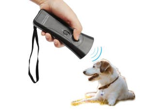 (Black) - LUCKSTAR 3 In 1 Ultrasonic Dog Repeller - Enhanced Electronic Dog Repeller and Trainer Stop Barking Infrared + Ultrasonic Training Device with Double LED Flashlight