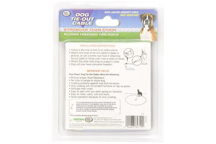 (3m) - Four Paws Silver Heavy Weight Dog Tie Out Cable