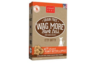 (PeanutButter & Apple, 210ml) - Cloud Star Wag More Bark Less, Grain Free Itty Bitty, Crunchy Biscuit Dog Treats, Made in USA