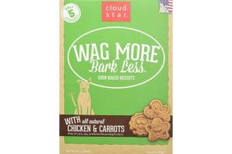 (Chicken & Carrot, 470ml) - Cloud Star Wag More Bark Less Oven Baked, Crunchy Dog Treats, Limited Ingredients & Baked in the USA