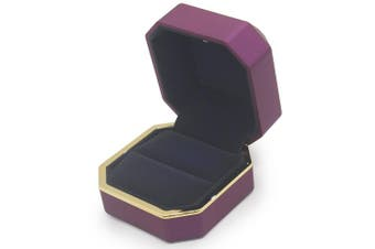 (Ring Box, Purple) - AVESON Luxury Ring Box, Square Velvet Wedding Ring Case Jewellery Gift Box with LED Light for Proposal Engagement Wedding, Purple