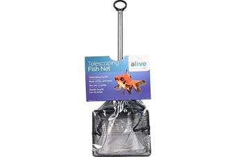 (Medium, Black) - Elive Extendable Telescopic Fish Net, Soft Cleaning Mesh Net for Aquarium or Fish Tank, 10cm Net, 7 - 41cm Handle Length