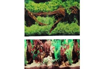 9091 50cm x 120cm Fish Tank Background 2 Sided Driftwood/Floral Background Aquarium