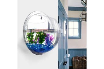 (Only Tank) - PRUGNA Wall-Hanging Fish Bowl Acrylic Wall-Mounted Plant Pot 3.8l Fish Tank 29cm Decoration Planter