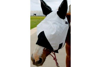 Equine Horse Fly Mask Mosquitoes Bugs Summer Spring Airflow Mesh UV White 73201