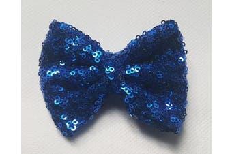(7.6cm  with clip, Royal Blue) - Sequin Glitter Sparkle Hair Bow Clip Pin Headband Alice band Accessories (7.6cm with clip, Royal Blue)