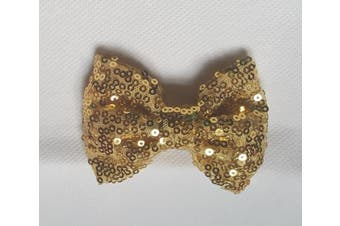 (13cm  with clip, Light Gold) - Sequin Glitter Sparkle Hair Bow Clip Pin Headband Alice band Accessories (13cm with clip, Light Gold)