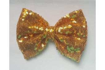 (10cm  with clip, Yellow Gold) - Sequin Glitter Sparkle Hair Bow Clip Pin Headband Alice band Accessories (10cm with clip, Yellow Gold)