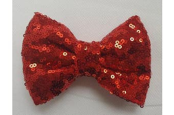 (7.6cm  with clip, Red) - Sequin Glitter Sparkle Hair Bow Clip Pin Headband Alice band Accessories (7.6cm with clip, Red)