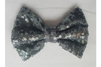 (7.6cm  with clip, Grey) - Sequin Glitter Sparkle Hair Bow Clip Pin Headband Alice band Accessories (7.6cm with clip, Grey)