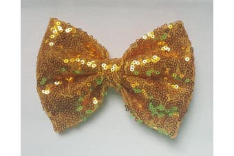 (7.6cm  with clip, Yellow Gold) - Sequin Glitter Sparkle Hair Bow Clip Pin Headband Alice band Accessories (7.6cm with clip, Yellow Gold)