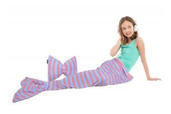 "(Light Blue) - Catalonia Coral Fleece Mermaid Tail Blanket & Pillow Bowknot Cushion Children Kids Plush Soft Snuggle Throw 60"" x 21"" Light Blue"