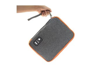 (grey) - Waterproof Double layer-Electronic Travel Organiser,Crayfomo Universal Cable Organiser Storage Bag/Electronics Accessories Carry Bag