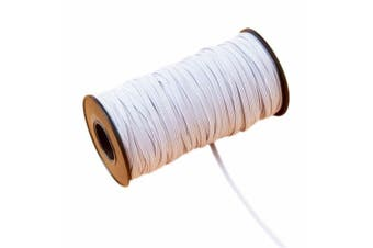 (0.6cm , White) - 144 Yard Braided Elastic, Springy Stretch Braided Elastic Cord Elastic Band (White, 0.6cm )