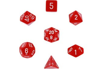 Polyhedral 7-Die Opaque Dice Set - Red with White (d4, d6, d8, d10, d12, d20 & d00)