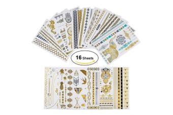 (Classic Style) - Tattoo Waterproof Metallic Temporary Tattoo 16sheets in Gold Silver Sticker Body Fake Jewellery Tattoos Over 200 designs for Women Teens Girls Body Art