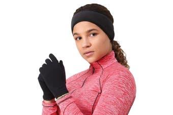 (Medium, solid black) - TrailHeads Women's Running Gloves | Touchscreen Gloves | Power Stretch Winter Running Accessories