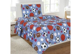 (Twin) - Elegant Home Multicolor Blue White Orange Brown Sports Basketball Football Baseball Soccer 3 Piece Printed Twin Sheet Set with Pillowcase Flat Fitted Sheet for Boys / Kids/ Teens # Game Day