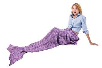 "(Purple) - Catalonia Knitted Mermaid Tail Blanket with Anti-Slip Neck Strap Soft Sleeping Blanket for Adults Teens All Seasons Sleeping Bag 66.5"" x 22.5"" Purple"