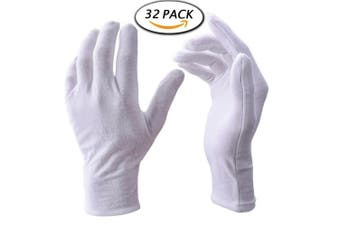 (Large) - Zealor 16 Pairs White Cotton Gloves, 23cm Large Size for Coin Jewellery Silver Inspection Gloves