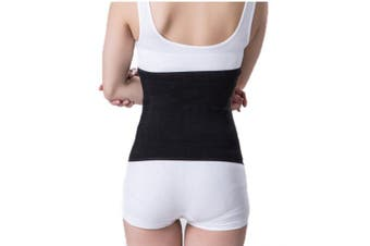 (Black) - Unisex Medical Abdominal Binder Themal Therapy Knit Kidney Warmer Stomach Lumbar Lower Back Support Brace Slim Waist Trimmer Wrap Belt Postpartum Belly Band - Warming Kidney- C Section Surgical Recovery - Warming Healing Pain Relief