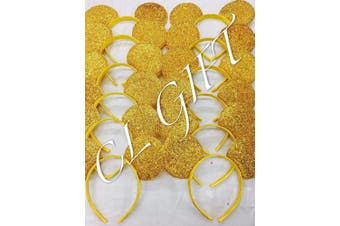 Set of 12 - Yellow/Gold sequin Mickey Mouse Ears,Belle/Beauty and the beast, Snow white Ears , DIY Mickey Ears, Minnie Ears, Minnie Mouse Ears, DIY mickey Ears.