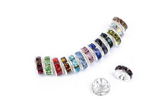 Bingcute 100 Pcs Bright Silver Crystal Rondelle Spacer Bead Plated 8mm for jewelery making Assorted Colours