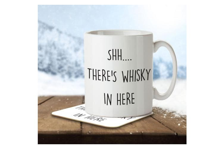 Shh... There's Whisky in Here - Mug and Coaster By Inky Penguin