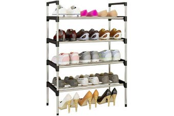 (4 Tiers 12 Shoes, Blue) - AcornFort® S-502 4 Tiers Adjustable Shoe Storage Shoe Rack Organiser Shelf Hold Stand for 12 Pairs Shoe, 2019 New Upgrade Sturdy Design, Space Saving, Easy Assemble