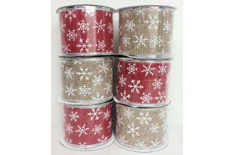 (PW4. Red/Khaki) - 4 Rolls Assorted Patterns Classic Christmas Decorations Ribbons (6.4cm W x 2.7m Each) - Red/Khaki