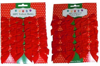 (36) - 7.6cm Mini Red Velvet 2 Loop Bow W/Gold Foil Tie Back (18 With Glitter & 18 Without)