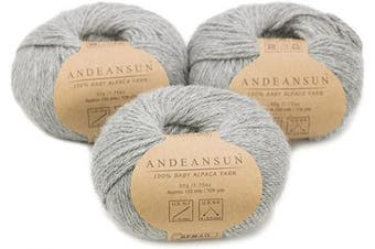(#4 Worsted, Light Grey) - (Set of 3) 100% Baby Alpaca Yarn Worsted #4 (150 Grammes Total) Luxurious Cosy and Caring Soft to Enjoy Knitting, Crocheting and Weaving - Gorgeous Twist and Stitch Definition (Light Grey)