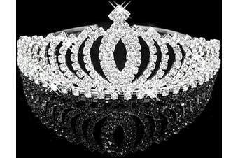 (Silver_4) - Pretty Wedding Rhinestone Tiara Crown Headband Comb Pin Bridal Birthday Tiaras