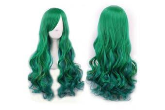 (Dark Green) - AneShe 70cm Women's Green Wig Long Curly Harajuku Lolita Style Cosplay Wigs Heat Resistant Fibre Wigs (Dark Green)