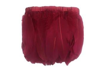 (burgundy) - ADAMAI 2 Yards Goose Feathers Trims Fringe DIY Dress Sewing Crafts Costumes Decoration (Burgundy)