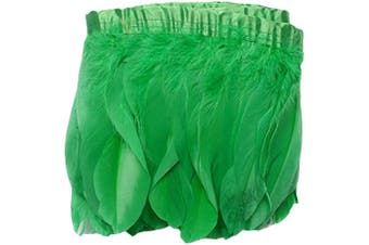 (green) - ADAMAI 2 Yards Goose Feathers Trims Fringe DIY Dress Sewing Crafts Costumes Decoration (Green)