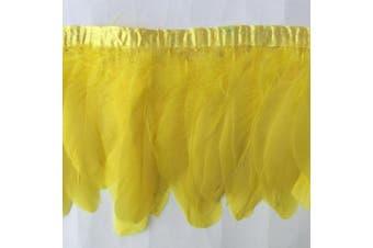 (yellow) - ADAMAI 2 Yards Goose Feathers Trims Fringe DIY Dress Sewing Crafts Costumes Decoration (Yellow)