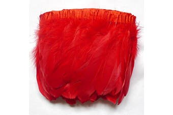 (red) - ADAMAI 2 Yards Goose Feathers Trims Fringe DIY Dress Sewing Crafts Costumes Decoration (red)