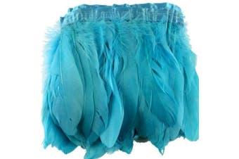 (sky-blue) - ADAMAI 2 Yards Goose Feathers Trims Fringe DIY Dress Sewing Crafts Costumes Decoration (Sky-Blue)