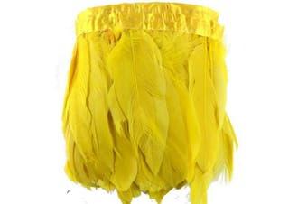 (gold) - ADAMAI 2 Yards Goose Feathers Trims Fringe DIY Dress Sewing Crafts Costumes Decoration (Gold)
